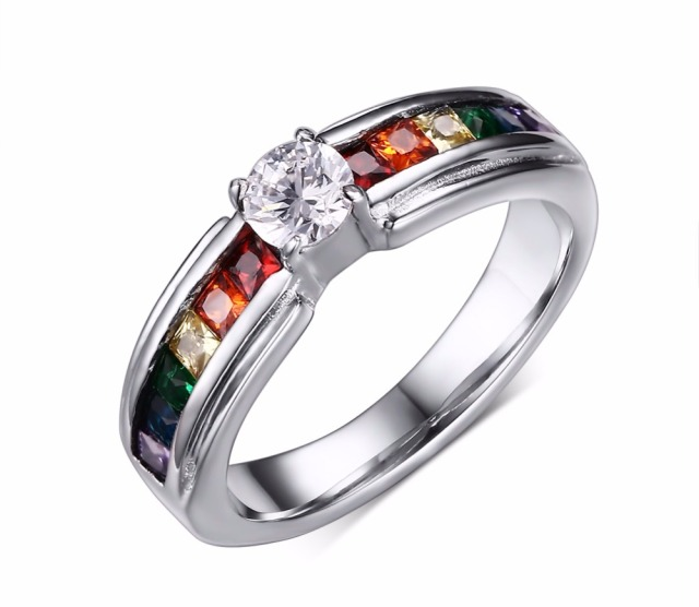 Free Engraving Stainless Steel An Pride Wedding Rings With Rainbow Crystal Inlay