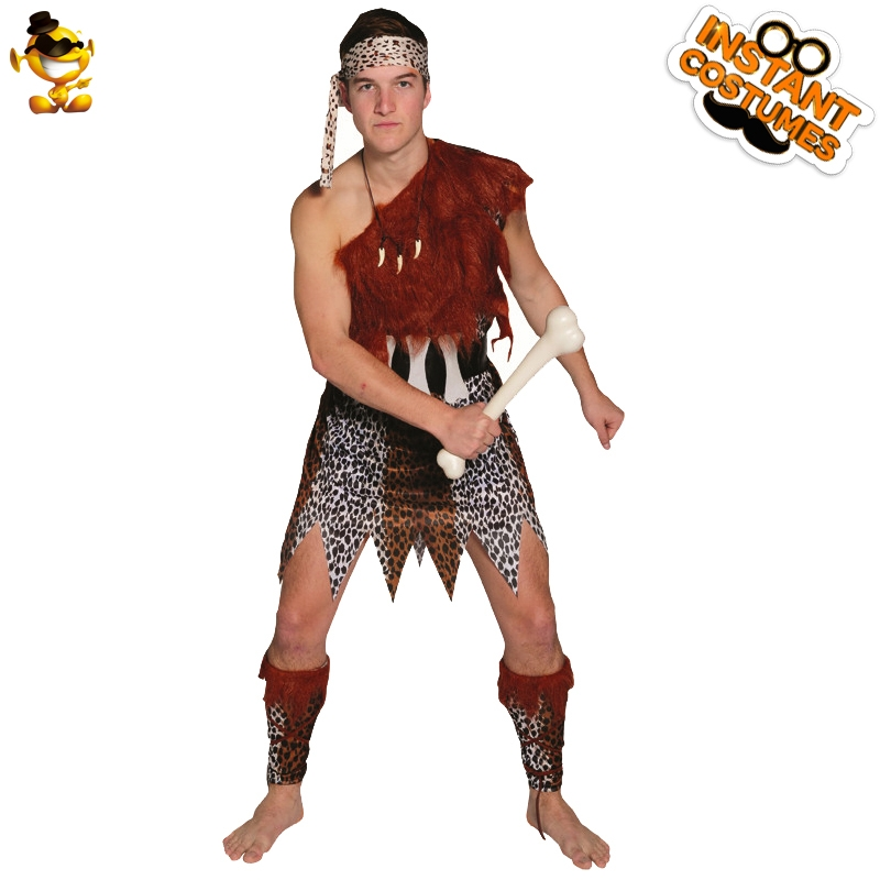 Prehistoric Man Jungle Tunic Caveman Costume In Halloween Party Fancy Dress  Imitation Caveman Outfit Party  Costume