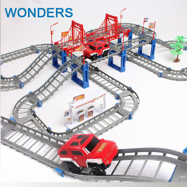 Big Children toys electric Thomas rail car kids train track model slot toy baby racing car double orbit car birthday gift
