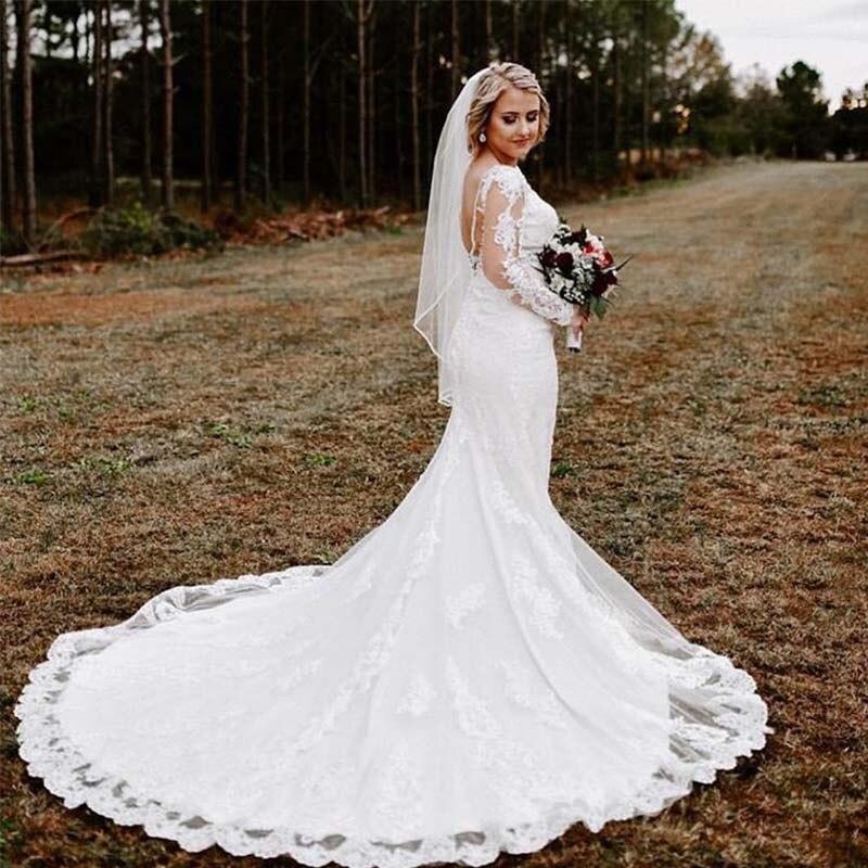 Garden V-neck Wedding Dresses Long Sleeves White Ivory Vestido De Boda Elegant Appliques Lace Bridal Dress Backless Wedding Gown