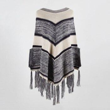HEE GRAND Women batwing Sleeve Pullovers 2019 Autumn New Tassels Sweaters Fashion Geometric Knitted Outwear O-neck Cloak WZL1512 8