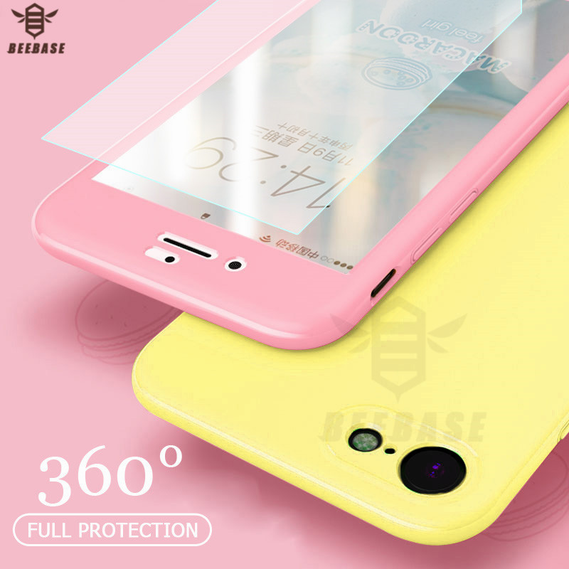 BEEBASE 360 Degree Full Cover Phone Case For iphone X 6 6s 7 8 Plus Cover With Tempered Glass Phone Case For iphone 7 8 funda