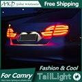 AKD Styling de Carro para Camry Luzes Traseiras 2015 Novo Camry V55 LEVOU Cauda Lâmpada Traseira Luz DRL + Freio + parque + Sinal