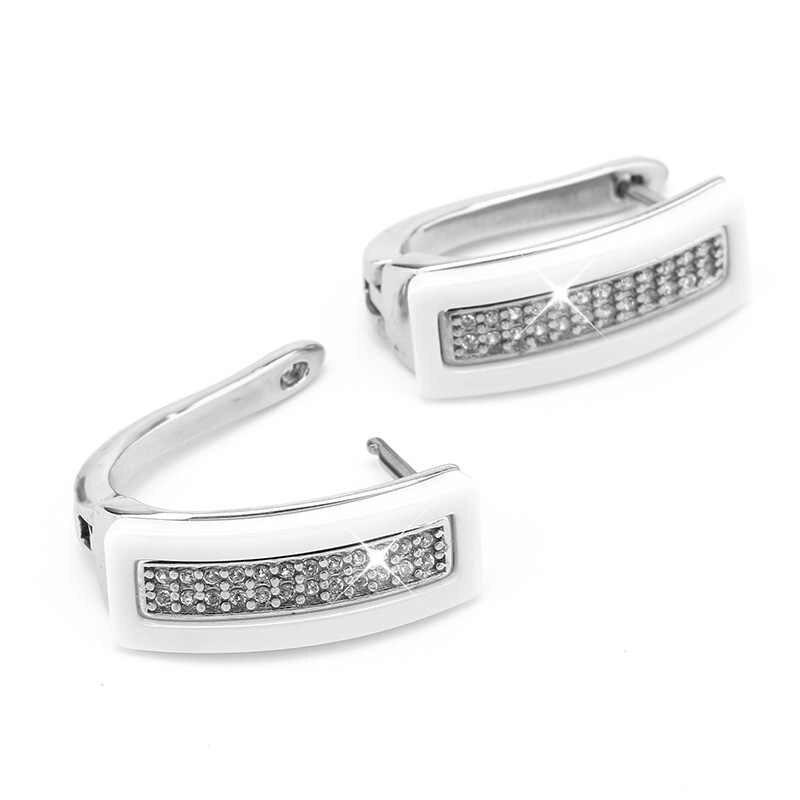 Baru U Bentuk Crystal Stud Earrings untuk Wanita Perhiasan Telinga Hitam Putih Alam Nyata Keramik Anting-Anting Pernikahan Pertunangan Aksesoris