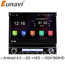 """Eunavi Evrensel 7 """"1 Din 2G RAM Android 6.0 Quad Core WIFI Ile Car DVD Radyo Stereo GPS Navigasyon direksiyon kontrolü"""