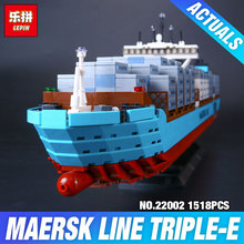 Nueva Serie Técnica El Maersk Lepin 22002 Genuino Barco de Contenedores de Carga Set 10241 DIY Bloques de Construcción Ladrillos NIÑOS Juguetes Educativos