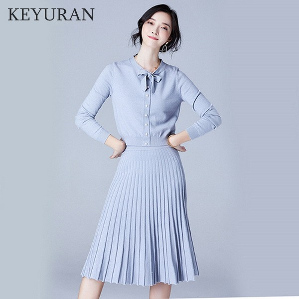 e00833be45b5 Fashion Women s 2   Two Pieces Sets 2018 Elegant Slim Bow Collar Knitted  Sweater Tops + Pleated Skirt Suit For Women Clothing