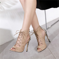 2019 Women Summer 11.5cm High Heels Sandals Fetish Snakeskin Serpentine Pumps Female Snake Print Lace Up Heels Prom Hollow Shoes