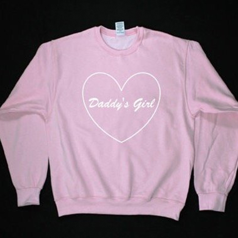 Daddys Girl Pink Sweatshirt Moletom Tumblr Pullovers Blusa Tumblr Girl Sweatshirts Jumper Harajuku Kawaii Womens Clothing Tops