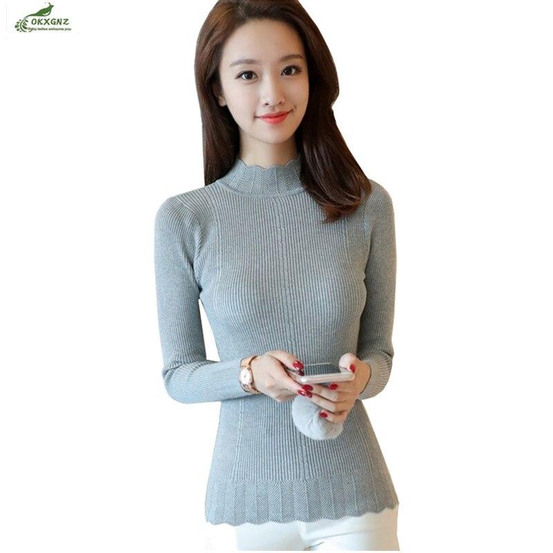 Pullovers Women Autumn Winter New Fashion Knit Sweater Lace Half-height Collar Long-sleeved Sweater Slim Keep Warm Sweater Tops Tideokxgnz
