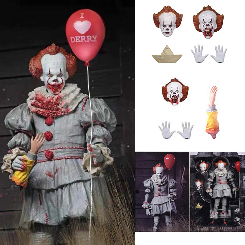 2 Type 7inch 18cm NECA Stephen King's It Pennywise Horror Action Figure Toy Doll Christmas Gift