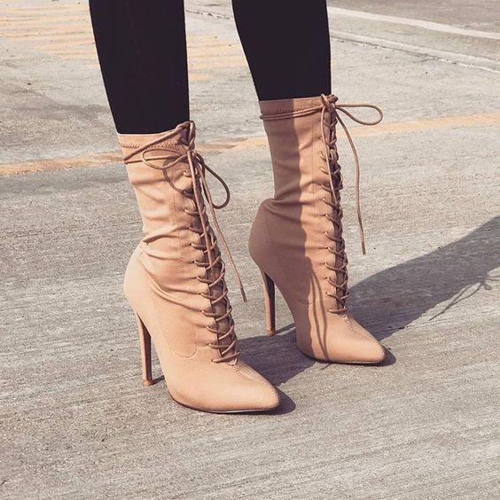 beige leather mid calf riding boots elegent pointed toe stiletto heel shoes high quality women dress real photo short boots 2015 retro elastic band rivets height increasing pointed toe platform 2 colors real leather mid calf boots women outdoor shoes