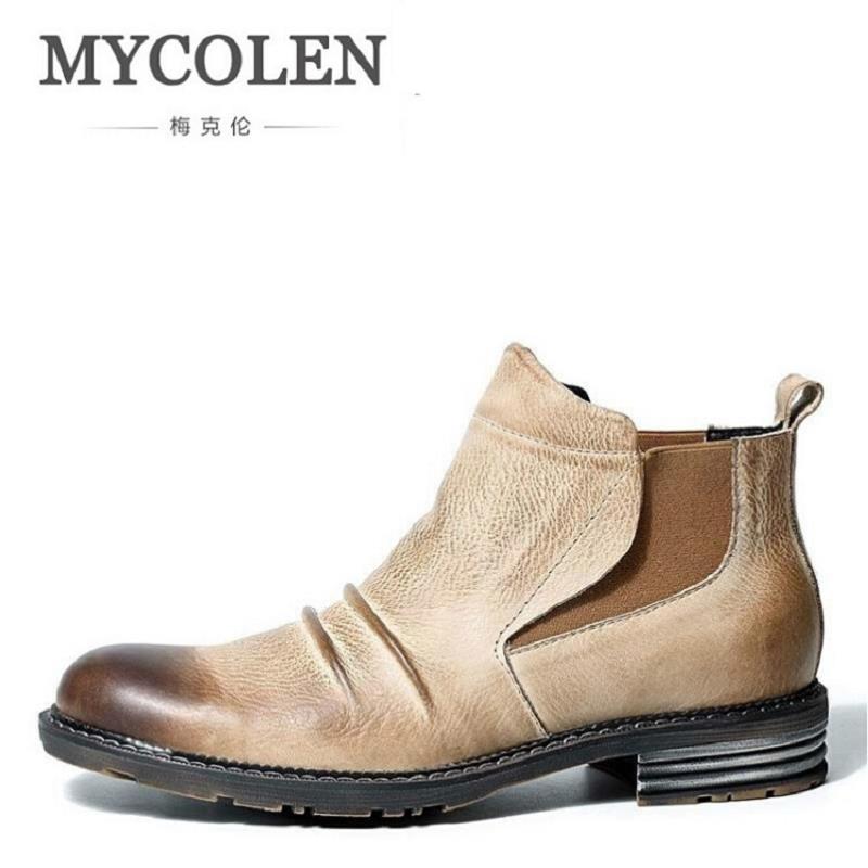 MYCOLEN Vintage Genuine Leather Men Boots Fashion Warm Cotton Brand Ankle Boots Winter Shoes Men Scarpe Antinfortunistica Uomo