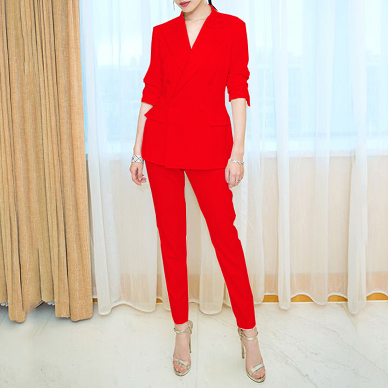 Pant Suits Spring Autumn Women Set 2020 New Fashion Two-piece Small Suit Solid Color Premium Women Suit Set NUW454