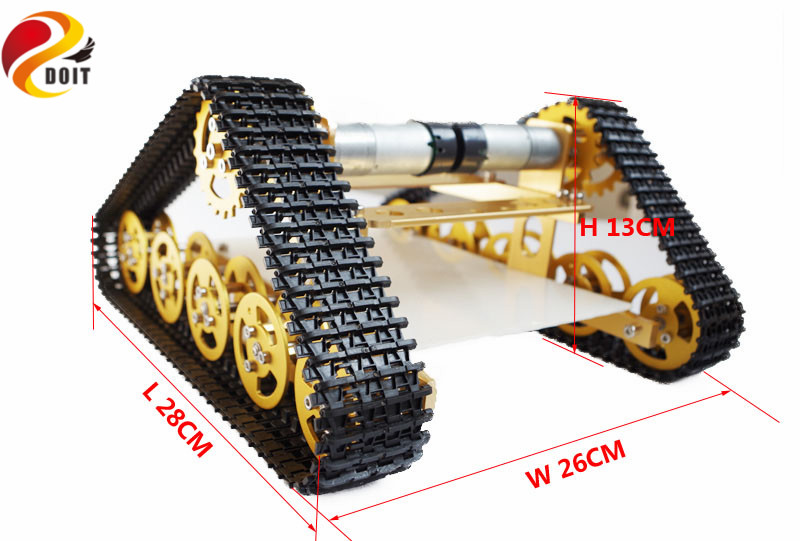 DOIT Yellow Aluminum Alloy Metal Wall-E Tank Chassis Robot Crawler Tracked Model DIY RC Toy Parts T400 цена