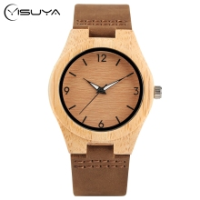 YISUYA Simple Ladies Dress Bamboo Wooden Wrist Watch Women Casual Relax Handmade Nature Wood Quartz Genuine Leather Clock