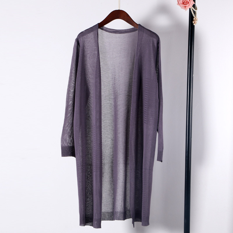 Shuchan Summer Long Cardigans Women Linen Blend Office Lady Single Breasted V-Neck Computer Knitted Cardigan Feminino Sweater