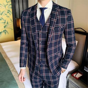 Men's Suits, Houndstooth Shirt Collar Polyester Navy Blue Plaid Suit     Wedding Tuxedo Jacket Pants Vest Luxury Casual Suit