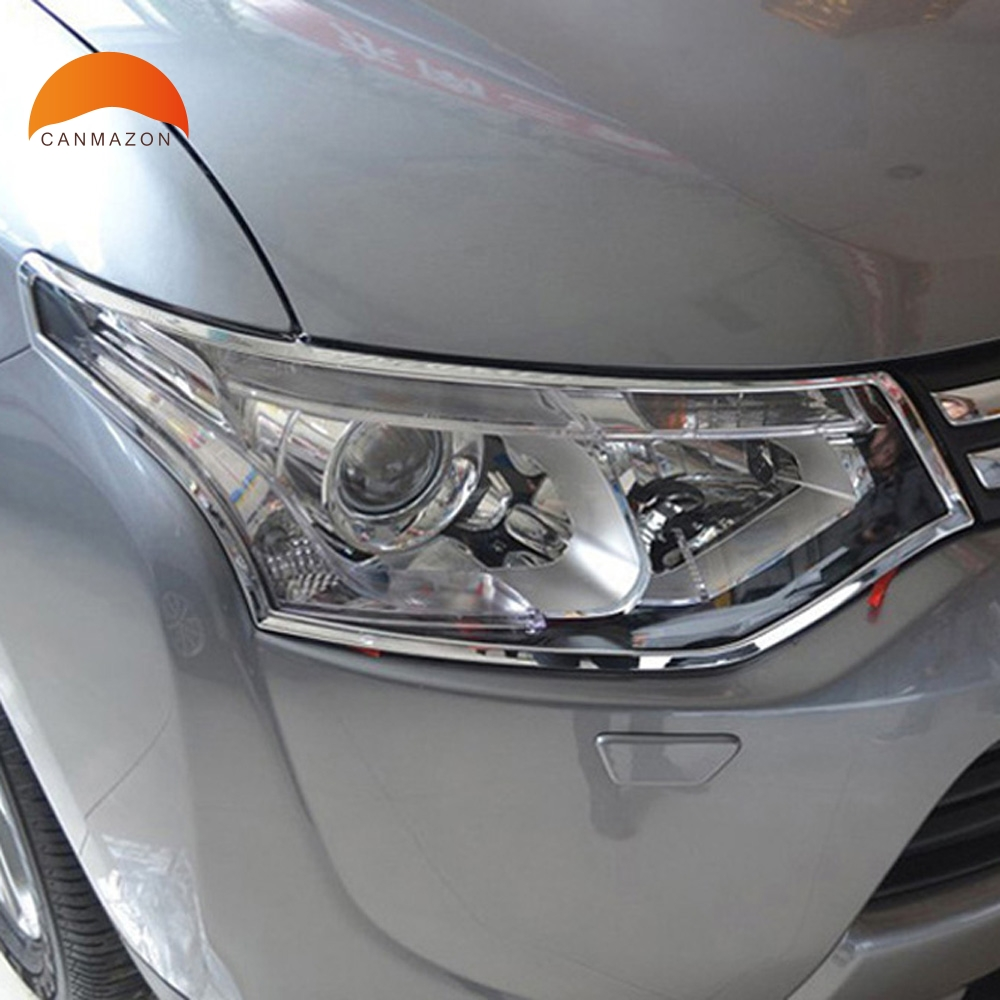 For Mitsubishi Outlander 2013 2014 ABS Chrome Front Head Light font b Lamp b font Headlight