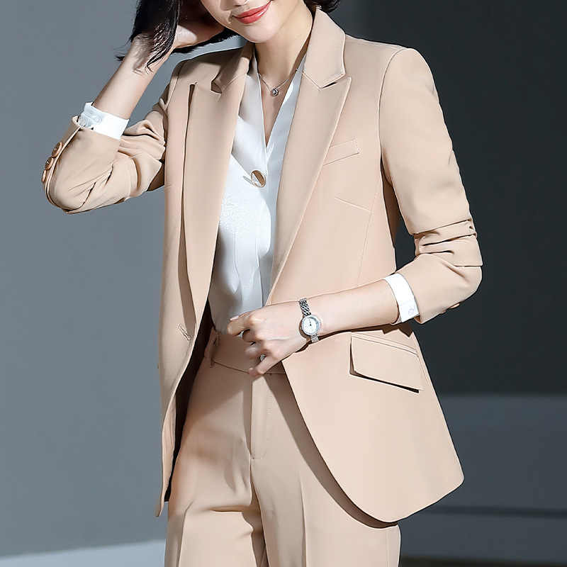 Women's suit 2019 new autumn large size long solid color fashion suit trousers set two-piece temperament women's clothing
