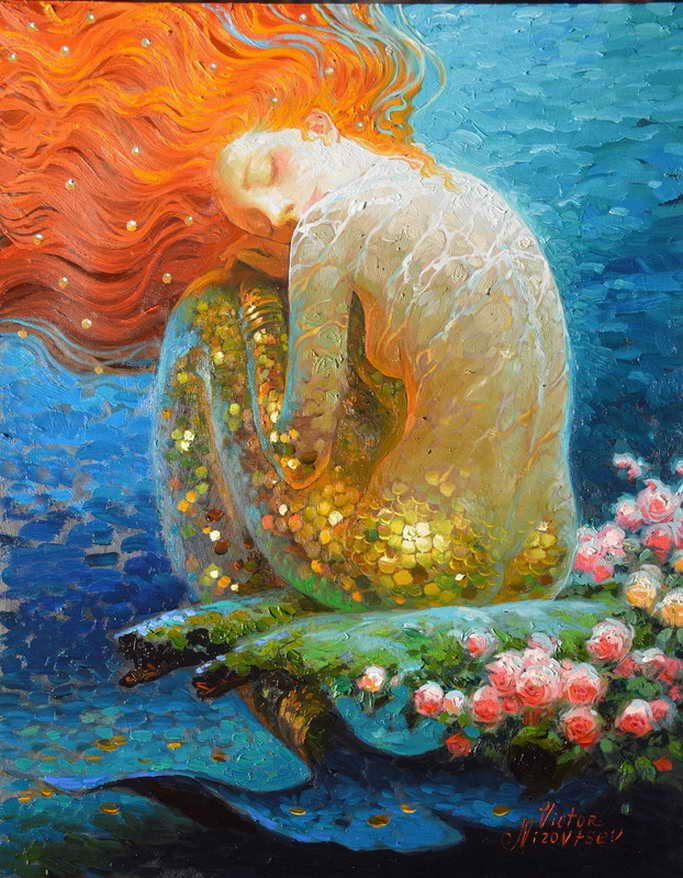 Home Art Decor Фэнтези Vintage Mermaid Oil Painting - Үйдің декоры - фото 1