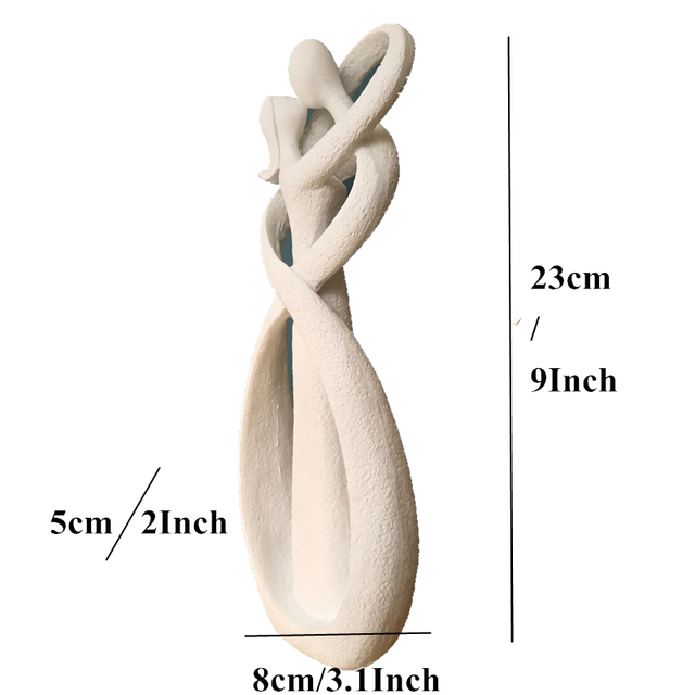 VILEAD 9 Inch Sandstone White Kissing Lover Figurines Wedding Decoration Anniversary Souvenirs Vintage Home Decor Christmas Gift 3