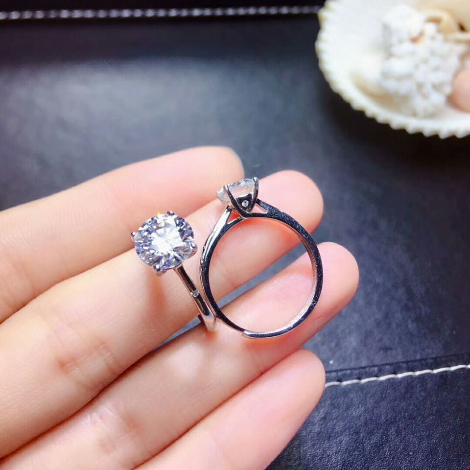 4 Prongs Lovely 0.5ct Round Cut Synthetic Diamonds Ring 925 Sterling Silver Ring White Gold Color Wedding Ring Fine Craftsmanship Wedding & Engagement Jewelry Engagement Rings