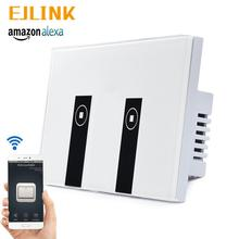 US 2 Gang Wifi Switch Voice Control App Remote Control Smart Home Wall Light Switch Glass Panel Touch Switch 86 smart switch wifi touch panel remote app control 2 gang wifi smart rf app touch control wall light timer switch z3