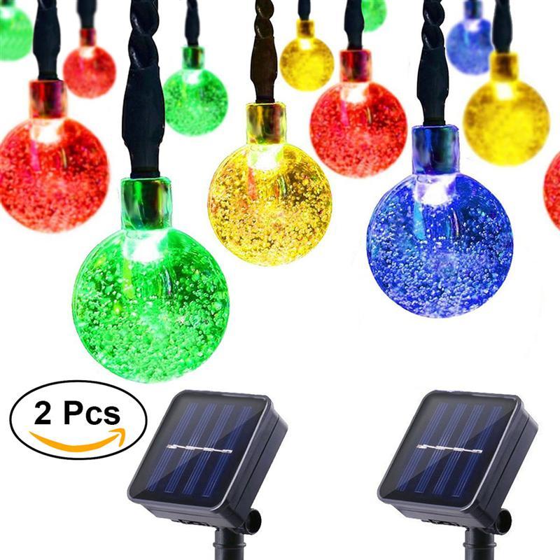 2 шт. 4,5 м 30 светодиодный солнечных батареях пузырь лампы Ball открытый света строки (красочный свет)