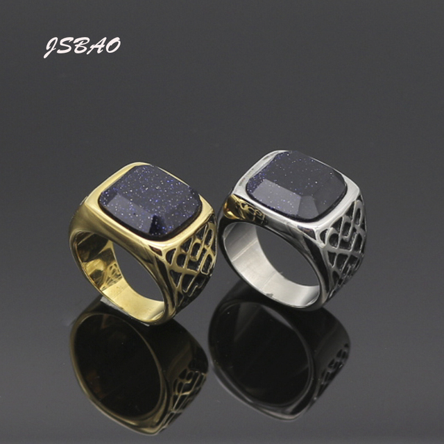 Jsbao Mens Top Quality Fashion Jewelry Stainless Steel Malachite Natural Stone Cool Ring For Women Best