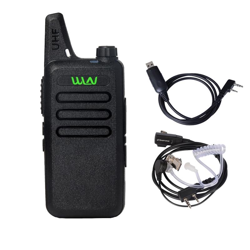 imágenes para WLN KD-C1 UHF 400-470 MHz MINI de Mano de Dos Vías de Radio Comunicador Jamón HF Transceptor Walkie Talkie Portátil con Cable de los auriculares
