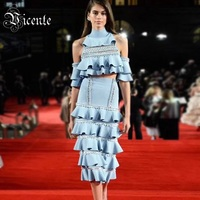 Free Shipping! Stylish Cascading Ruffles Besds Two Pieces Blue Dress 2018 New Sexy Off The Shoulder Celebrity Style Dress Suit
