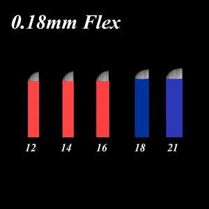 Image 1 - 50 pces 0.18mm microblading needles12/14/18/21 flex permanente maquiagem lâminas manual sobrancelha tatuagem agulhas de lâmina curvada