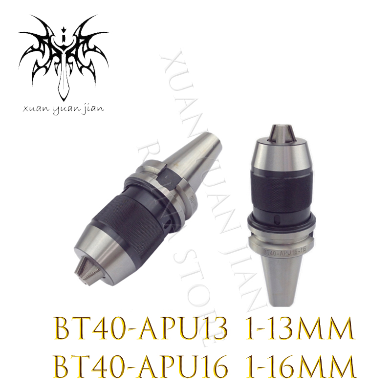 1PC BT30 BT40 APU13 PU16 Range:1-16mm APU13 BT40 APU13 Range:1-13mm Integrated keyless self tight Drill chuck for milling lathe cat40 apu16 integrated keyless self tight drill chuck for milling lathe range 1 16mm