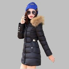 Winter 2016 Women Medium long Cotton down jacket Thicken Warm Cultivate one's morality Big yards Fur Collars Hooded Coat G1537