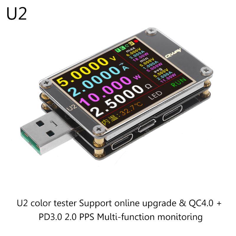 Testeur USB de WEB-U2 amélioré QC4.0 + PD3.0 2.0 PPS capacité de protocole de charge rapide DC mètre 4 ~ 24 V 5A