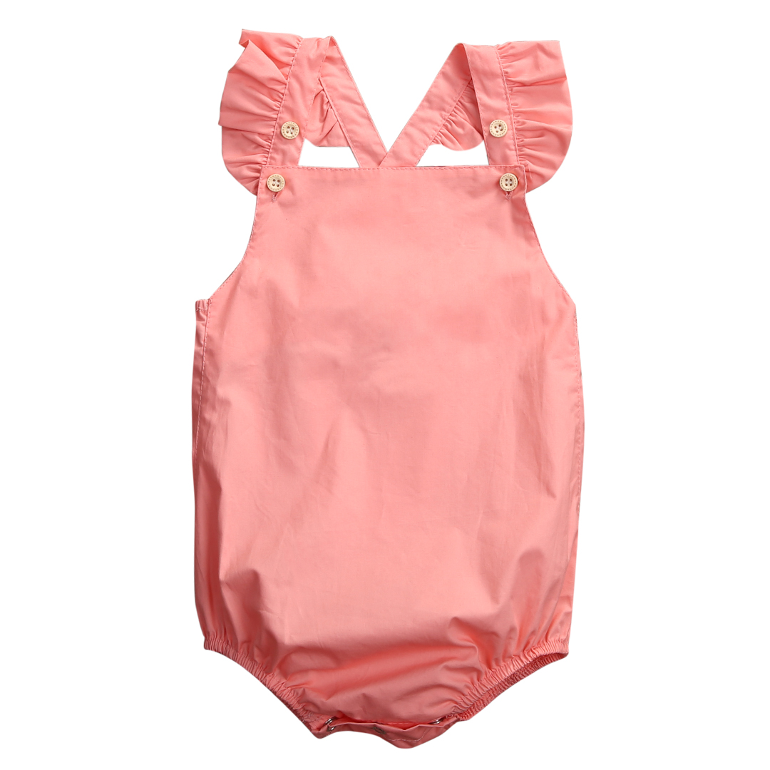 Summer 2017 Newborn Baby Girl Romper Clothes Summer Ruffled Sleeve Solid Bebes Rompers Toddler Kids Jumpsuit Outfits Sunsuit