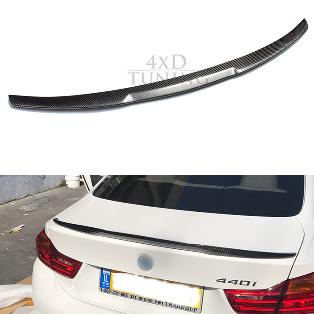 For BMW F36 Carbon Spoiler M4 Style 4 Series F36 Carbon Fiber Rear Spoiler Rear Trunk Wing 4-Doors Sedan car 2014 2015 2016 2017 carbon fiber car rear bumper extension lip spoiler diffuser for bmw x6 e71 e72 2008 2014 xdrive 35i 50i black frp