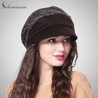 2015 Fashion Brand Winter Keep Warm Woman Lady Casual Striped Beanie Hat Wholesale Quality Khaki Brown