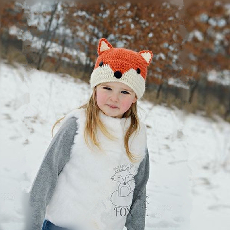Apparel Accessories Girl's Hats Winter Beanie Baby Sweater Fox Ktfgs Girls Boys Wool Warm Scarf Hood Holds Hats Grey
