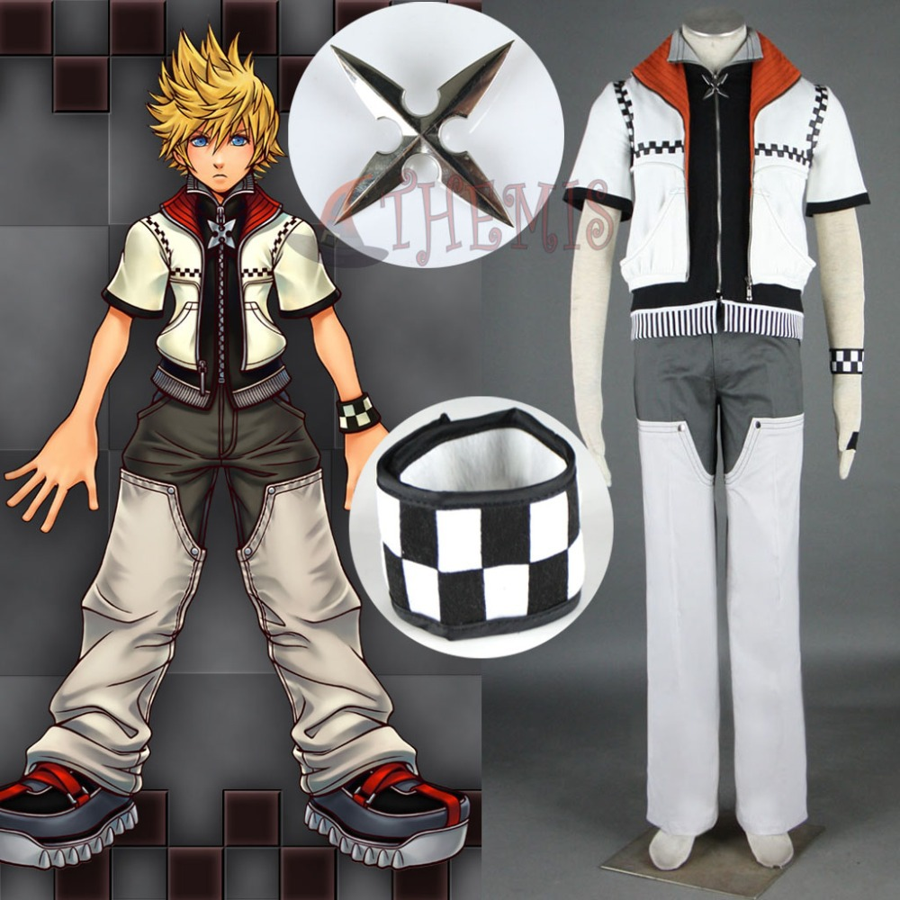Athemis Cool Kingdom Hearts Roxas Cosplay Costumes High Collar White Coat Two Zippers Outfit Full Set with Cuff Man Suit