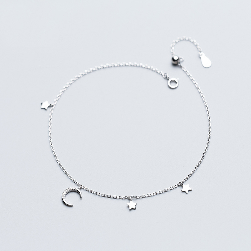 MloveAcc 925 Sterling Silver Women Anklets Jewelry Star Moon Charm Ankle Bracelet 925 Sterling Silver Jewelry for Gift