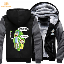 Funny Mens Jacket Rick and Morty Print On The Hoodie 2019 Spring Winter Harajuku Sweatshirt Men's Zip Up Hoodies Plus Size Hoody cut and sew zip up hoodie jacket