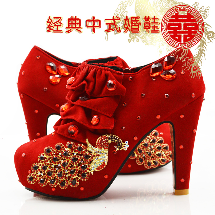 ФОТО Women Pumps Chinese Style Wedding Shoes Flock Red Color Square Heels High Heels Shoes Woman Bride Shoes Elegant Women's Pumps