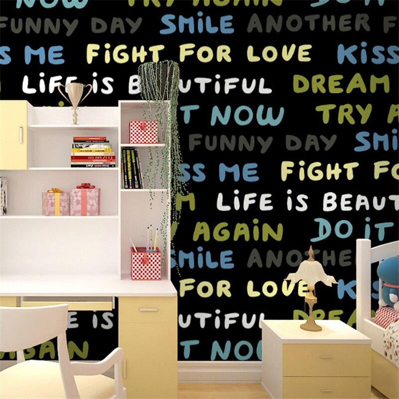 Beibehang personnalité dessin animé couleur anglais alphabet mot fonds d'écran enfants chambre code à barres bureau officiel café bar fonds d'écran