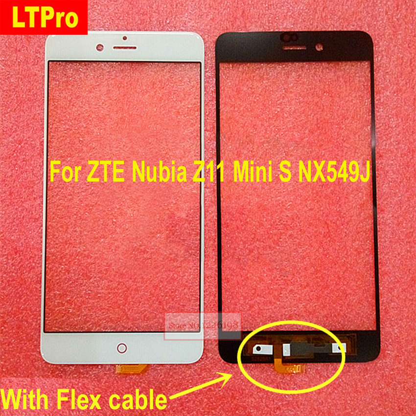 LTPro Black White Outer Glass Front Screen Sensor Lens with flex cable for ZTE Nubia Z11 miniS Mini S NX549J Repair Replacement