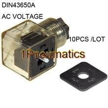 10 шт./лот Din 43650-A линейный разъем для клапана соленоидных катушек разъем DIN43650A светодиодный индикатор переменного напряжения