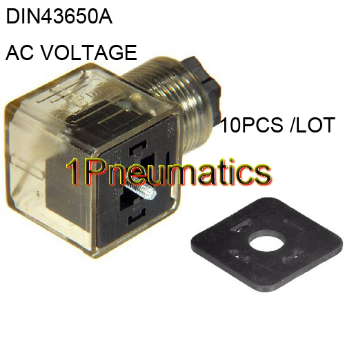 Free Shipping 10PCS/LOT Din 43650-A Line-Socket Plug For Valve Solenoid Coils Connector DIN43650A Led Indicator AC Voltage