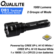 Qualilite D81 CREE XP-L HI White / Neutral White 1000 Lumens 2 Groups of 3 to 5-Mode LED Flashlight ( 1x18650 / 2xCR123 ) 2018 new fenix pd35 v2 0 cree xp l hi v3 led 1000 lumens tactical flashlight