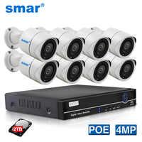 Smar Super HD 8CH 4MP POE NVR Kit système de caméra de sécurité H.265 4M caméra IP IR puissance métallique extérieure sur Ethernet économise plus de coûts